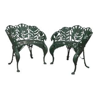 Antique Laurel Pattern Cast Iron Garden Benches-after Coalbrookdale - a Pair For Sale