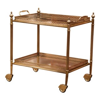 Early 20th Century French Brass Two-Tier Desert Table or Bar Cart on Wheels For Sale