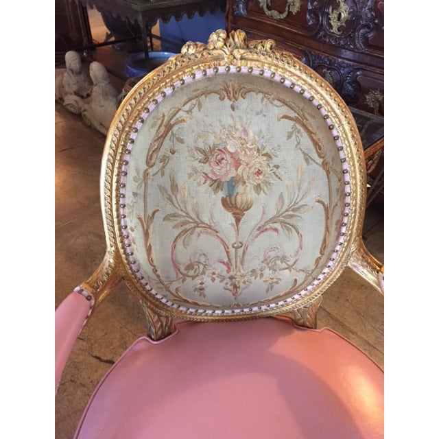 Wood 19th Century French Carved Gilt & Pink Leather Aubusson Back Arm Chairs - a Pair For Sale - Image 7 of 13