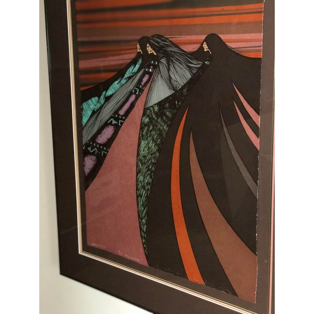 """Late 20th Century """"Tres Hermanas"""" Framed Chromolithograph by Amado Maurillo Pena For Sale - Image 5 of 7"""