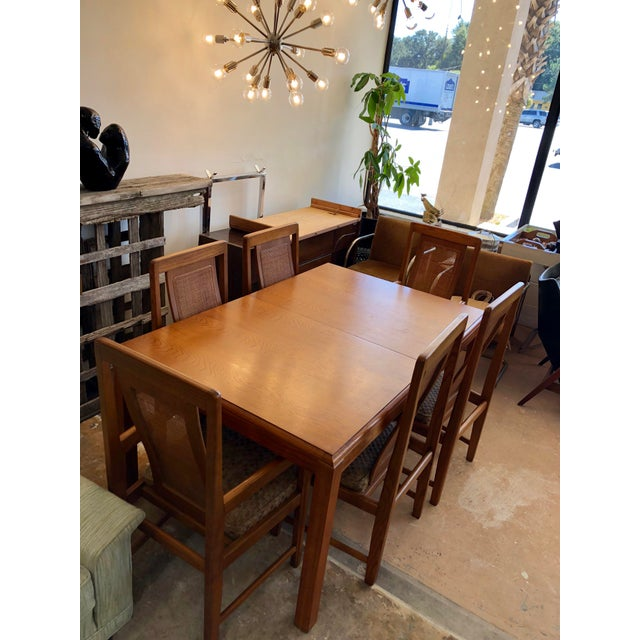 1970s Sears & Roebuck Oak Dining Table with 6 Chairs For Sale - Image 10 of 10