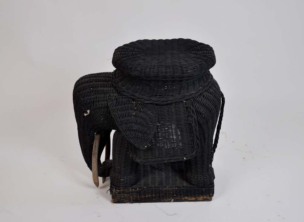 Vintage Rattan Wicker Elephant Side Table   Image 7 Of 8