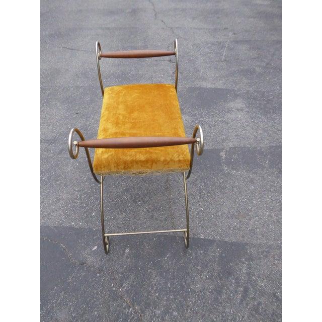 Vintage Hollywood Regency Gold Velvet Vanity Chair - Image 6 of 10
