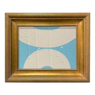 Ron Giusti Mini Wagasa Light Blue and Cream Acrylic Painting, Framed For Sale