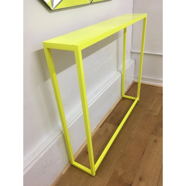 2010s Contemporary Fluorescent Yellow Powder-Coated Metal Console Table For Sale - Image 5 of 8