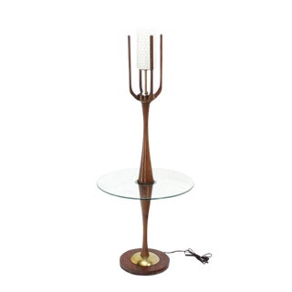 Sculptural Mid-Century Modern Floor Lamp with Built In Round Glass Side Table For Sale