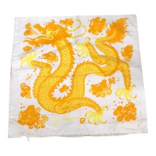 1970s Boho Chic Jim Thompson Silk Dragon Pillow Cover For Sale