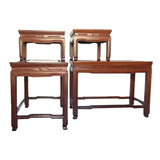 Mid Century Modern Chinese Rosewood Side Tables Stacking Chinoiserie Stands - A PAIR