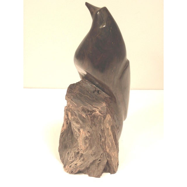 Mid Century Hand Carved Wood Bird Sculpture - Image 6 of 7