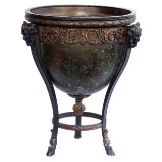 A Nicely Cast and Chased French Neoclassical Style Parce-Gilt and Patinated Bronze Jardiniere/Urn For Sale