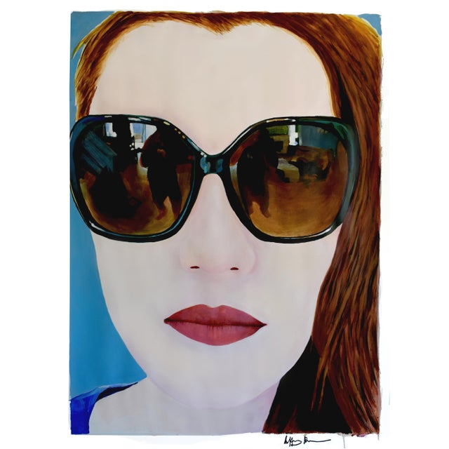 This is a portrait of my lovely niece Claire, looking cool and somewhat mysterious as she is prone to do. Acrylic on acid-...