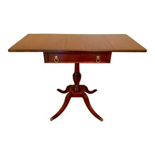 Duncan Phyfe Style Mahogany Drop Leaf End Table