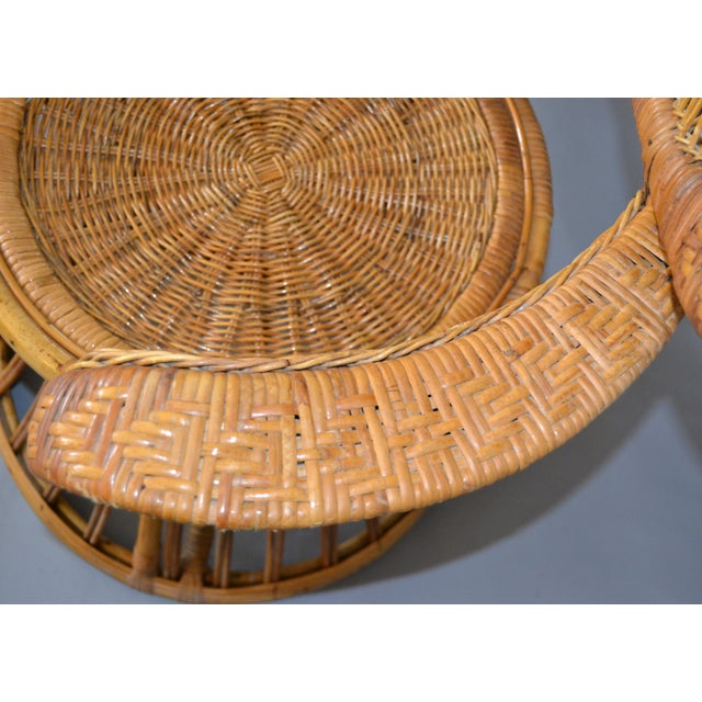 Wicker Vintage Boho Chic Handcrafted Wicker, Rattan and Reed Peacock High Back Chair For Sale - Image 7 of 13