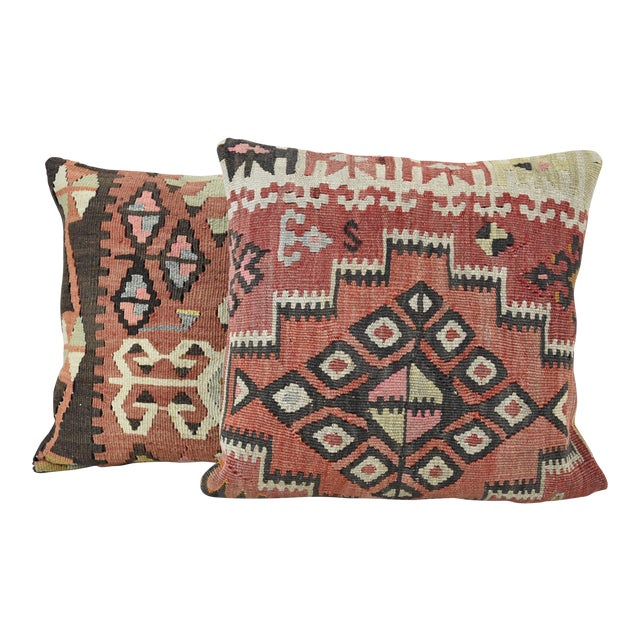 Vintage Turkish Handwoven Kilim Pillows - Pair - Image 1 of 5