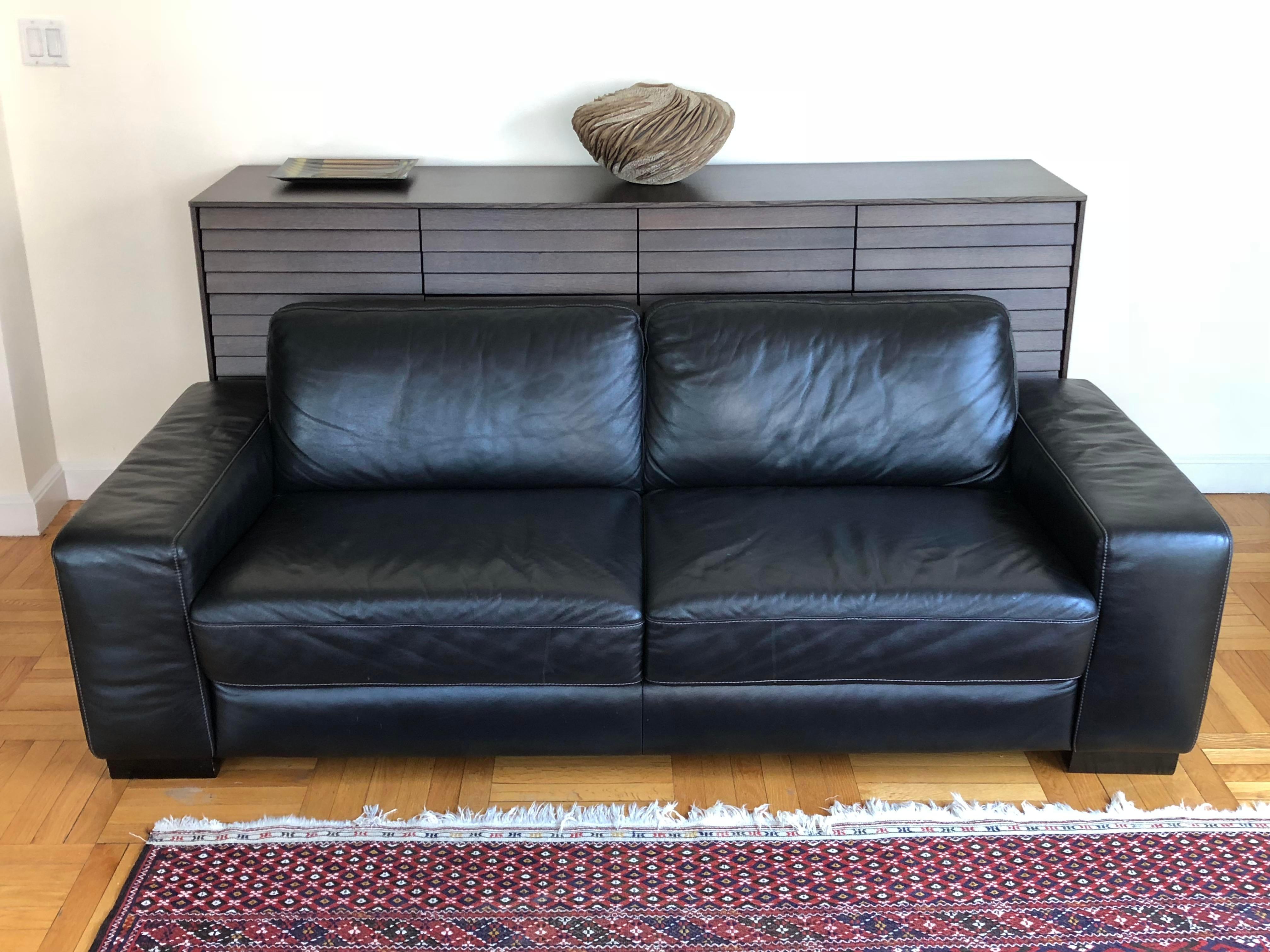 Black Vintage Maurice Villency Black Leather Sofa For Sale   Image 8 Of 8