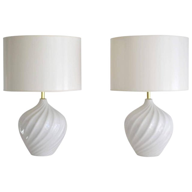 Pair of Blanc De Chine Jar Form Table Lamps For Sale