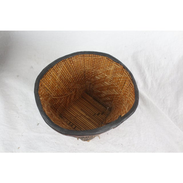 Primitive Small Ghanian Tribal Woven Basket For Sale - Image 3 of 7