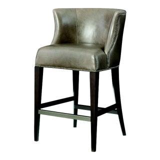 Century Furniture Wellsley Bar Stool, Mushroom Leather For Sale