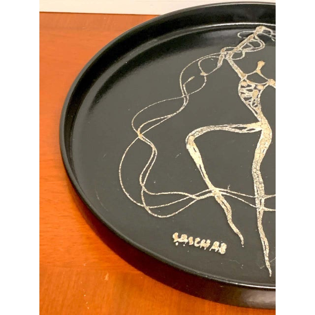 Midcentury Sascha Brastoff Abstract Nude Circular Gallery Tray For Sale - Image 9 of 10
