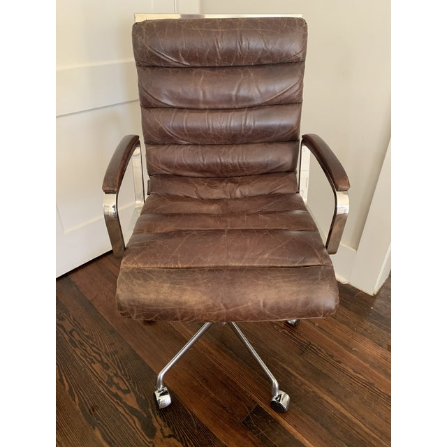 Terrific Modern Restoration Hardware Oviedo Leather Desk Chair Chairish Creativecarmelina Interior Chair Design Creativecarmelinacom