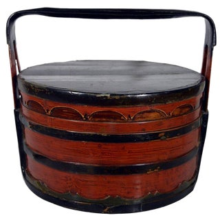Two-Colored Bamboo and Wood Tiered Lunch Basket from 19th Century, China For Sale