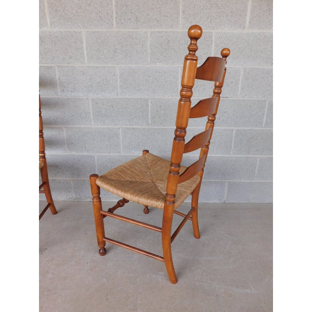 L Hitchcock Harvest Stenciled Ladder Back Rush Bottom Chairs - a Pair For Sale - Image 12 of 13