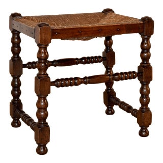 18th Century English Turned Stool For Sale