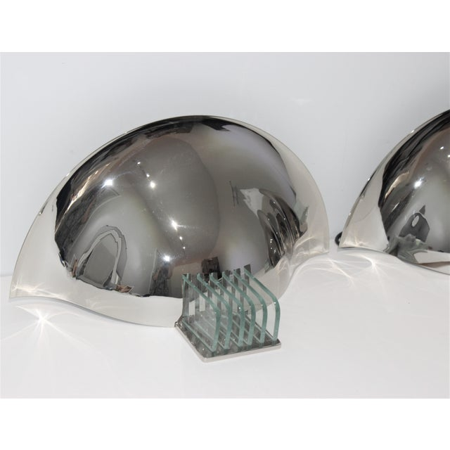 Vintage Art Deco Revival Karl Springer Style Sconces Nickel - a Pair For Sale - Image 10 of 12
