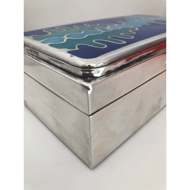 Mid Century Modernist Sterling Silver and Enamel Box For Sale - Image 11 of 12
