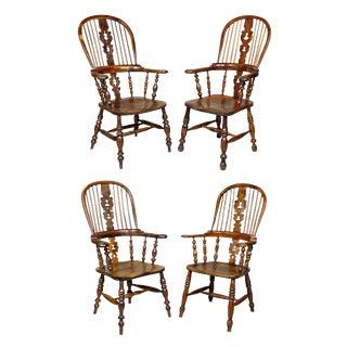 Regency Yewwood Windsor Armchairs - Set of 4 For Sale