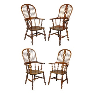 Set of Four Assembled Regency Yewwood Windsor Armchairs For Sale