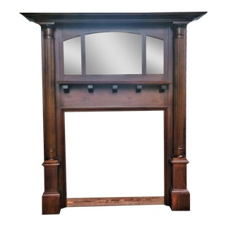 Antique American Mahogany Fireplace Mantle With Fluted Tall Columns For Sale