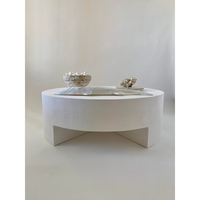 Plaster Reed Smooth Plaster Round Chunky Coffee Table For Sale - Image 7 of 10
