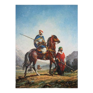 Moroccan Orientalist Oil Painting of Men on Horses For Sale