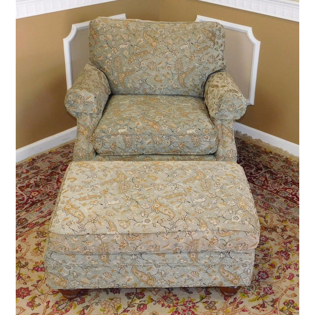 Ethan Allen Upholstered Armchair & Ottoman - Image 3 of 8