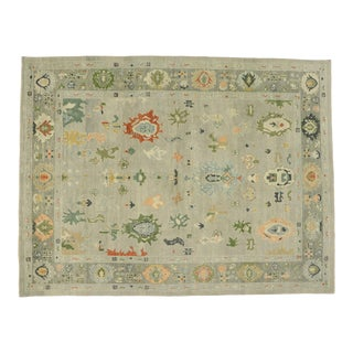 Transitional Contemporary Turkish Oushak Rug - 10'07 X 13'11 For Sale