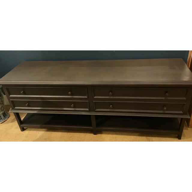 Stylish Modern Gray Wood Four Drawer Console Table, showroom floor sample