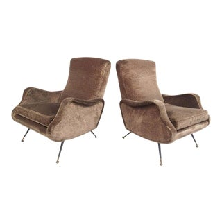 Italian Lounge Chairs After Marco Zanuso - a Pair For Sale