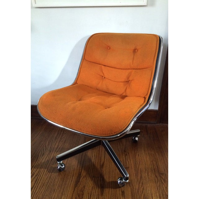 Super comfortable armless Knoll Executive office chair in the original orange wool. There are a few stains. The upholstery...