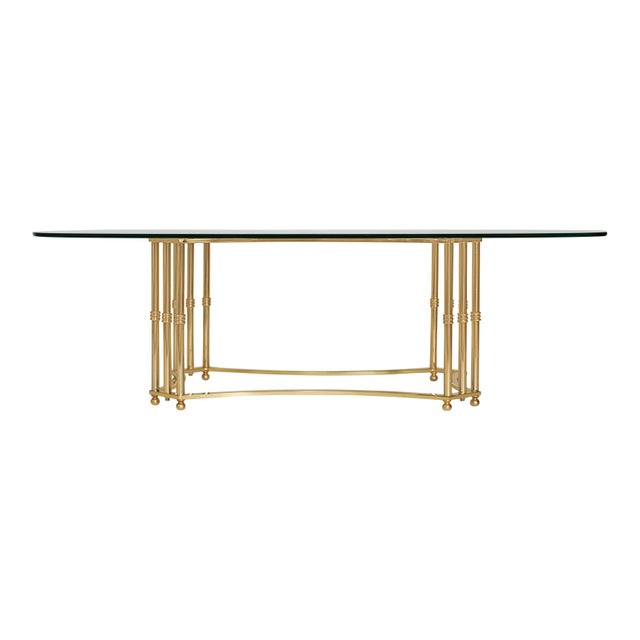 Gold Oval Brass & Glass Coffee Table For Sale - Image 8 of 8