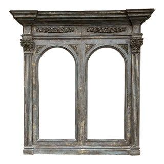 Large 19th C. Italian Antique Painted Architectural Mirror Frame For Sale