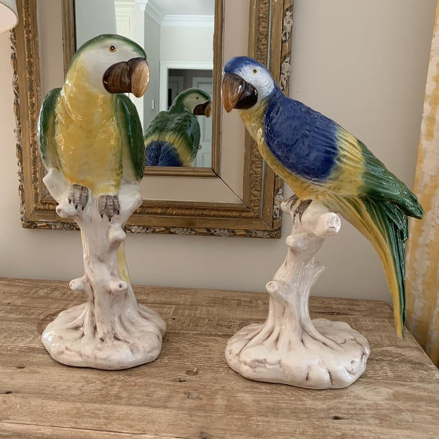 Large Vintage Italian Hollywood regency Handpainted Parrots- a Pair. Red blue yellow and green- vibrant colors and a...