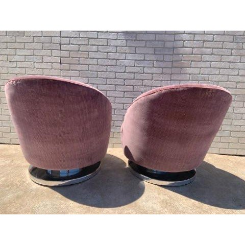 Mauve Mid Century Modern Milo Baughman Channel Back Swivel Chairs Newly Upholstered - Pair For Sale - Image 8 of 12