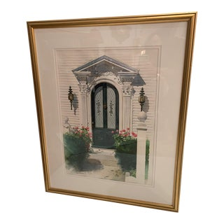 Framed Original Watercolor of Nantucket Doorway For Sale