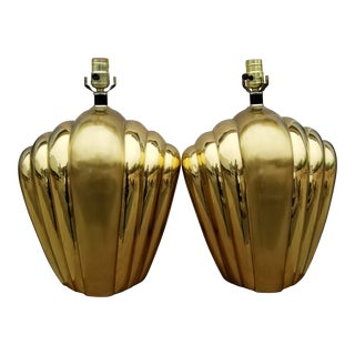 Hollywood Regency Brass Gold Geometric Table Lamps - A Pair For Sale