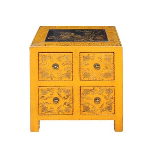 Oriental Distressed Yellow Golden Flower 4 Drawers End Table Nightstand For Sale