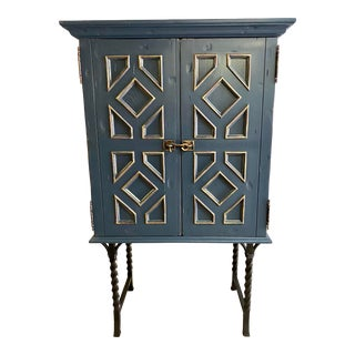 1980s Custom Made Blue Bar Cabinet For Sale