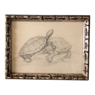 Original Vintage 1940's Pencil Drawing Two Turtles Playing For Sale