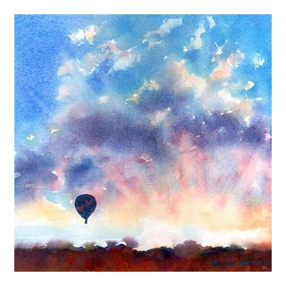 """Infatuated"" Hot Air Balloon Sunset Painting For Sale"