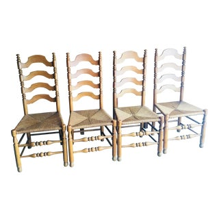 French Farmhouse Country Style Oak Ladder Back Chairs With Rush Seats - Set of 4 For Sale